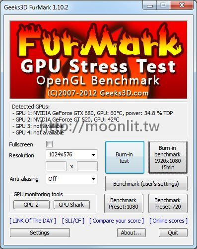 顯示卡燒機軟體 FurMark